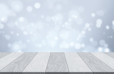 Empty wooden table on christmas holiday winter background with glitter bokeh light - can be used for display or montage your products and advertisement