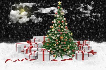 Albero di natale decorato e regali durante una nevicata..