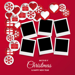 Christmas background with photos, blank frames. Vector template with pictures to insert