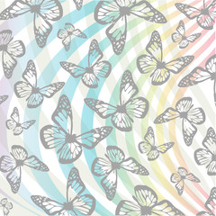 Butterflies and swirls background