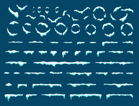 Big set of snow icicles and snow cap isolated. Cartoon snowy elements over winter background. Design template. Vector.