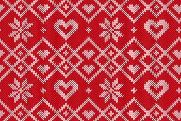 Winter Holiday seamless knitted pattern. Vector background for Merry Christmas and Happy New Yeary. Illustration.