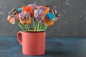 Multicolored marshmallow cake pops