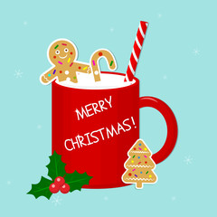 Red cup with milk, ginger biscuit, tubule and holly berries isolated on a snowflakes background. Happy Christmas. A treat for Santa Claus. Vector