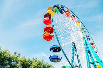Foto auf Acrylglas Vergnugungspark Colorful ferris wheel at amusement park in Vladivostok, Russia