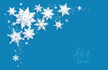 Snowflakes paper cut corner