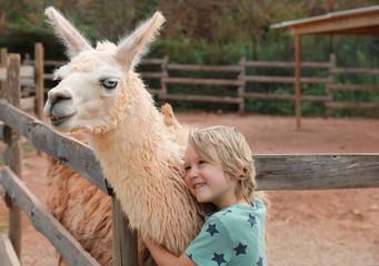 Poster Lama Petit garçon fait un câlin à lama