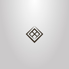 black and white simple vector geometric sign of rotated window