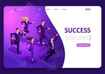 Landing page Isometric Business Success Concept. Entrepreneur business man leader. Businessman and his team. Website template design. Easy to edit and customize