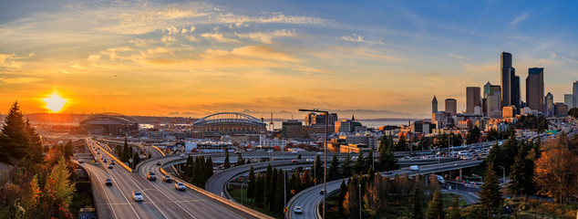 Seattle downtown skyline sunset from Dr. Jose Rizal or 12th Avenue South Bridge Wall mural