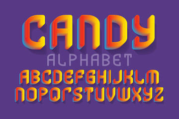 Candy alphabet. Yellow red gradient festive font. Isolated english alphabet.