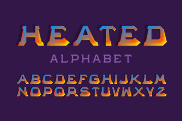 Heated alphabet. Hot colors 3d font. Isolated english alphabet.