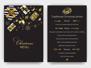 Invitation card for a Christmas party. Design template with xmas hand-drawn graphic illustrations. Menu card restaurant New Year and Christmas holidays.