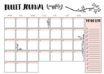 bullet journal year monthly planner. Vector illustration with handdrawing illustration.