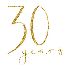 30 YEARS gold glitter brush calligraphy icon