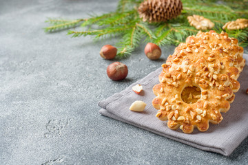 Christmas shortbread cookies with nuts. New year holiday concept