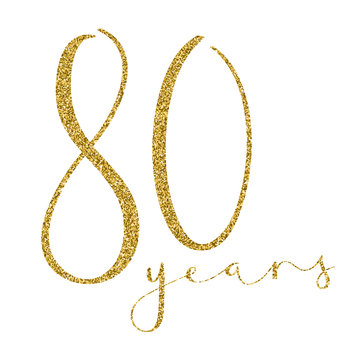 80 YEARS gold glitter brush calligraphy icon