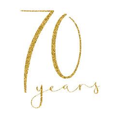 70 YEARS gold glitter brush calligraphy icon