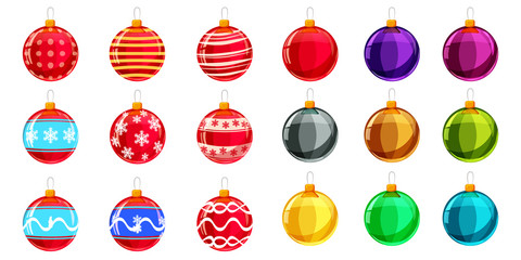Set christmas balls different colours. Set of isolated cartoon style decorations. Vector illustration.