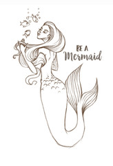 Hand-drawn beautiful mermaid character illustration. Sea template for poster, card, invitation. Be a mermaid