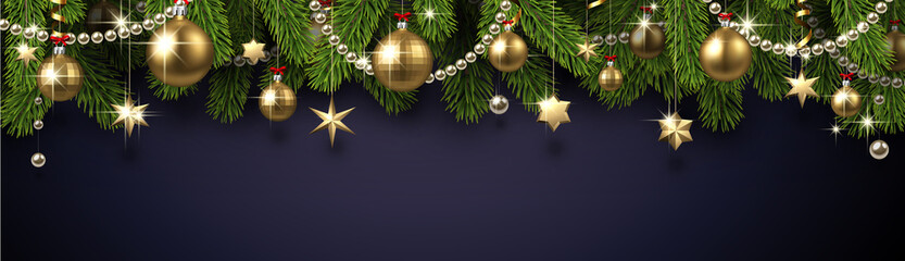Christmas and New Year banner with fir branches and gold Christmas decorations.