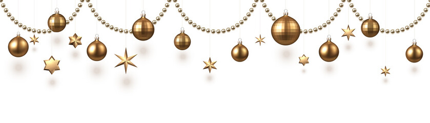 Christmas and New Year banner with golden Christmas balls and decorations.