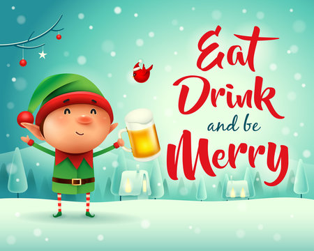 Merry Christmas! Little elf with beer in Christmas snow scene winter landscape.