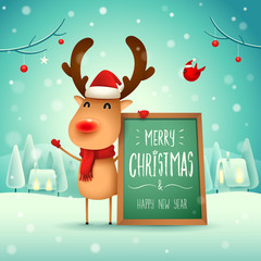 Merry Christmas! The red-nosed reindeer with message board in Christmas snow scene winter landscape.