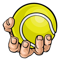 A strong hand holding a tennis ball. Sports graphic