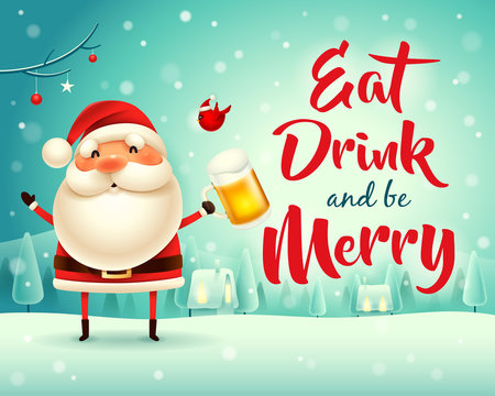 Merry Christmas! Santa Claus with beer in Christmas snow scene winter landscape.