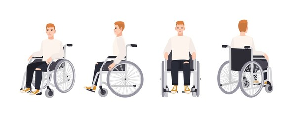 Cute happy young man in wheelchair isolated on white background. Smiling male character with physical disability or impairment. Front, side, back views. Vector illustration in flat cartoon style.