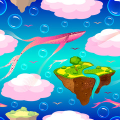 Childrens fantastic pattern. Flying islands and pink whales. Islands, whales, birds, bubbles fly or float in the sky. On the islands of grass, a tree, a river. Purple blue background.