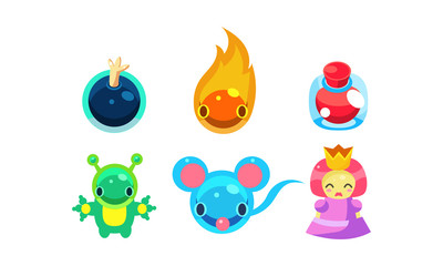 Collection of kids game user interface fantasy elements vector Illustration on a white background