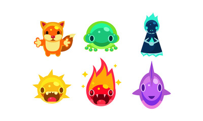 Cute funny jelly animals and monsters set, user interface assets for mobile apps or video games vector Illustration on a white background