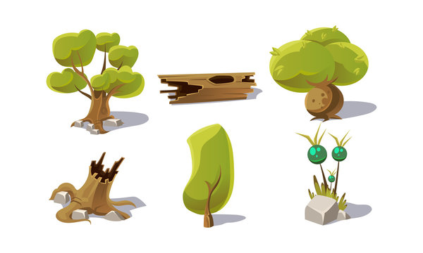 Green trees, stumps, fantastic plant, user interface assets for mobile apps or video games vector Illustration on a white background