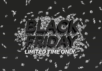 Black friday big sale, shopping vector banner. Black and white balloon and silver streamer, sparkles, tinsel.