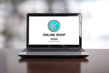 Online shop concept on a laptop