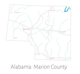 Detailed map of Marion county in Alabama, USA