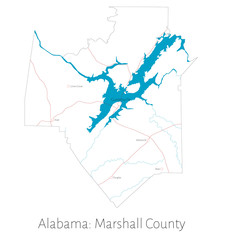 Detailed map of Marshall county in Alabama, USA