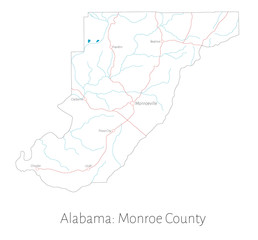 Detailed map of Monroe county in Alabama, USA