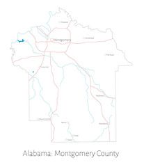 Detailed map of Montgomery county in Alabama, USA