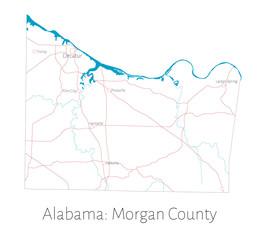 Detailed map of Morgan county in Alabama, USA