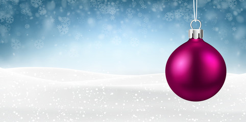 Blue Christmas and New Year background with pink Christmas ball.
