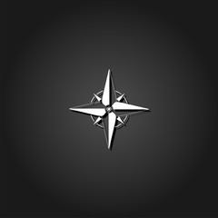 Compass, windrose icon flat. Simple White pictogram on black background with shadow. Vector illustration symbol