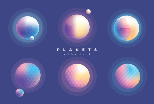 Futuristic abstract planets collection in vibrant colors