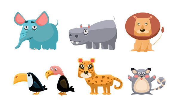 Cute wild African animals set, lion, hippopotamus, elephant, toucan, bald eagle, tiger, mouse vector Illustration on a white background