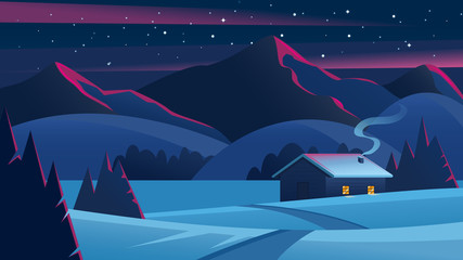 Canvas Prints Night blue Christmas Night landscape with mountains and a lonely hut. Christmas eve Landscape. Сozy house in winter forest. Vector of winter landscape.