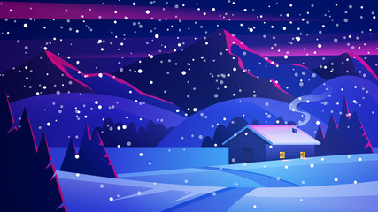 Photo sur Plexiglas Bleu fonce Christmas Night landscape with mountains and a lonely hut. Christmas eve Landscape. Сozy house in winter forest. Vector of winter landscape.