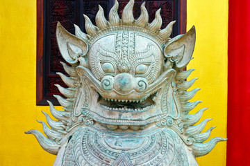 Chinese temple guardian lion in Hat Yai, Thailand