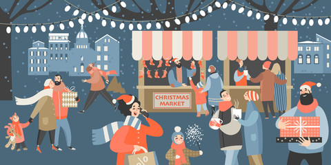 Vector illustration of a Christmas market with people shopping, drinking mulled wine and having a rest with their family